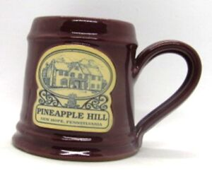 Deneen-Pottery-PINEAPPLE-HILL-New-Hope-PA-Coffee-Cup-Mug-Burgundy