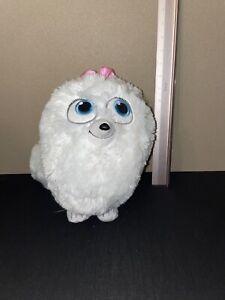 "The Secret Life Of Pets Gidget White Fluffy Dog Pom Plush Stuffed Animal 10"""
