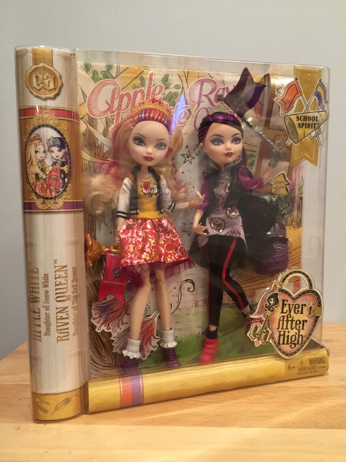 NIB EVER AFTER HIGH Apple Weiß & Raven Queen School Spirit Dolls set