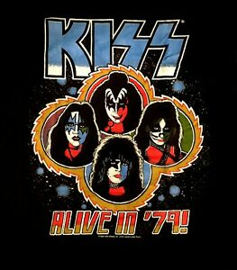 KISS cd lgo ALIVE IN '79 Official SHIRT XL New gene paul ace peter