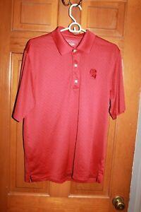 Reebok-Golf-Mens-Play-Dry-Polyester-NC-Red-woven-Short-Sleeve-Polo-Shirt-sz-M