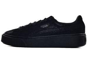 89ce4e2bf17078 PUMA Basket Platform Reset Puma Black Women s Suede Sneaker 363313 ...