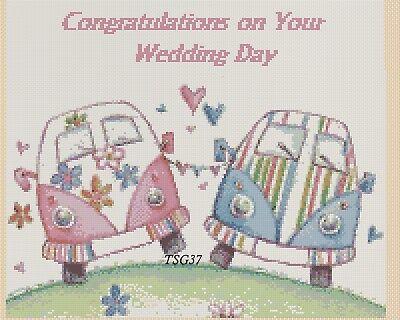 VW Beetle just married VW Campervan 6a   TSG37 Cross Stitch Chart