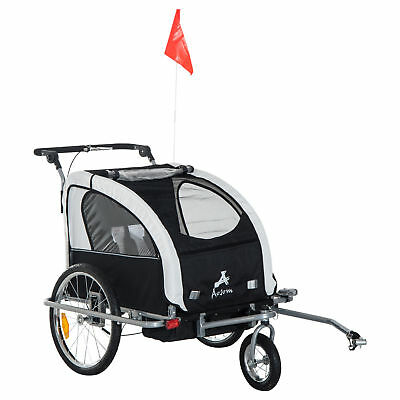 Aosom Elite II Double Baby Bike Trailer Stroller Child Bicycle Kids Jogger Black