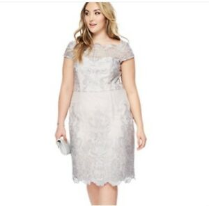 elegant and sturdy package 2018 shoes pre order Details about Chi Chi London - Grey lace 'Lossy' knee length plus size  dress UK 22 BNWT