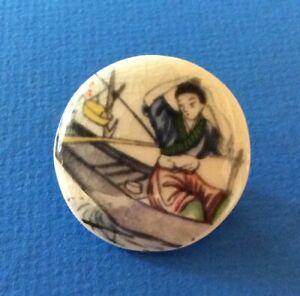 Oriental-Woman-In-Boat-Satsuma-Button-By-Eunice-Quinn