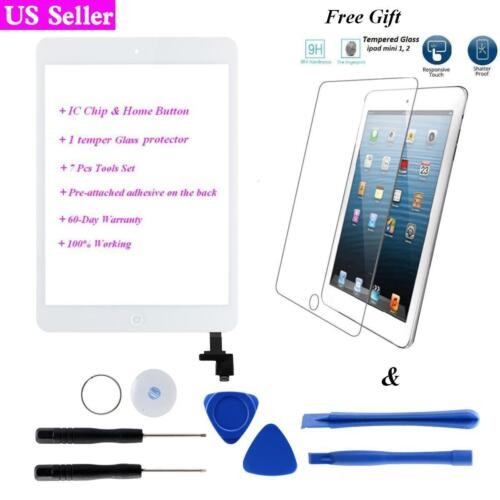 IC+Home Button for iPad Mini 1 2 White Touch Screen Glass Digitizer Replacement