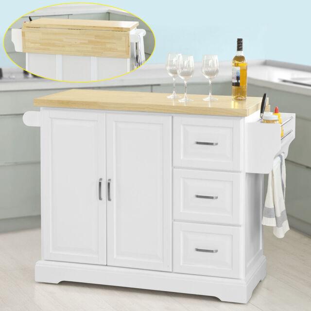 SoBuy® Extendable Kitchen Trolley Cart, Kitchen Cabinet Island, FKW41-WN, UK