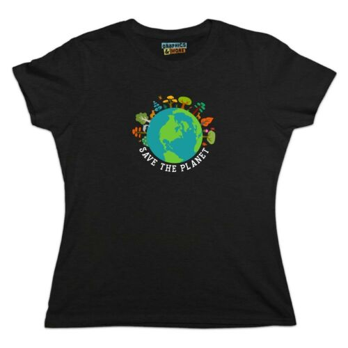 Save The Planet Illustration Conservation Women/'s Novelty T-Shirt