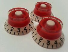 3 Guitar CTS Split shaft top hat volume / tone knobs. Red/Black/White.     JAT