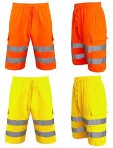 Mens-Hi-Viz-Vis-Visibility-Combat-Style-Cargo-Pocket-Work-Wear-Shorts