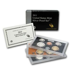 2011-US-Mint-Silver-Proof-14-Coin-Set-Complete-with-Original-Box-with-COA-NICE