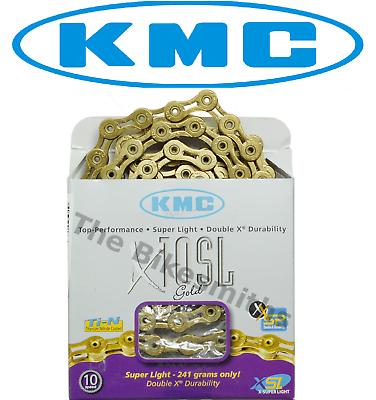 KMC X10L Gold Ti-N 10-Speed Road//MTB Bike Chain 116L fit Campagnolo Shimano SRAM