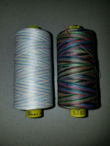 1-Spool//Gutermann Mara 70 Variegated//Multicolor Topstitching Thread//Tex40//756yds