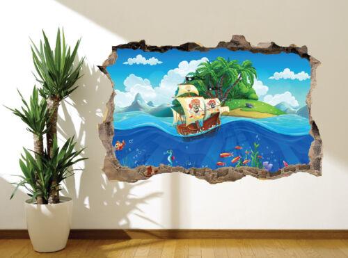 Cool Fun Kids île déserte et créatures marines Autocollant Mural Papier Peint 45526428