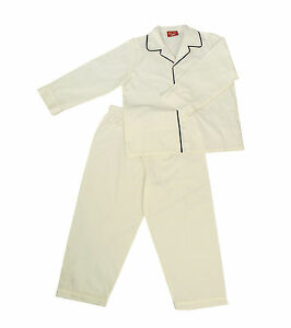 PYJAMA-SUIT-SLEEPWEAR-100-COTTON-WHITE-WITH-BLACK-PIPING-4-8-YEARS