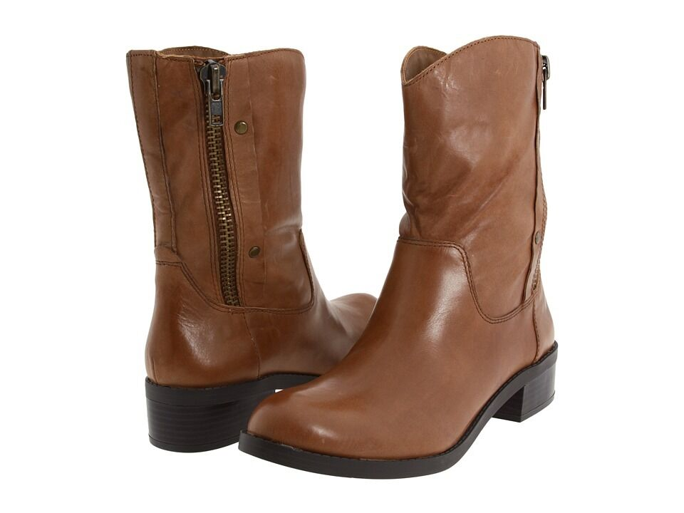 Nuevas botas de diseñador de Jessica Simpson Toots Cuero Negro Cremallera Lateral O Color Bronceado