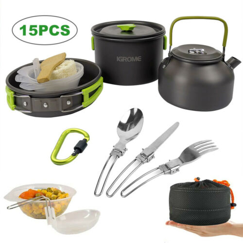 15PCS CAMPING COOKWARE SET FOR 2-3 PERSON COOKING PAN POT WITH FOLDING HANDLES