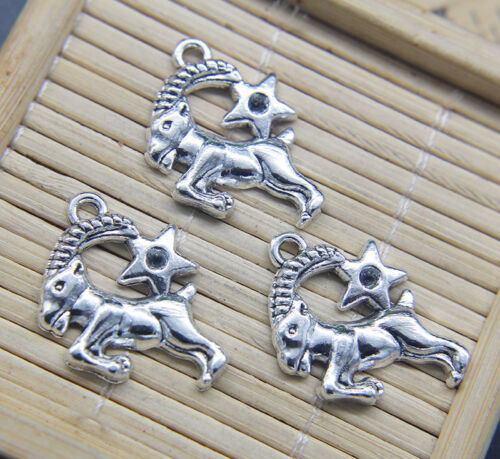 6//20pcs Retro Capricorn Constellation Alloy Charm Pendant Jewelry DIY 25*21mm
