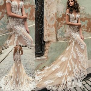 2bc422839d3 Image is loading Champagne-Ivory-Mermaid-Wedding-Dresses-Off-Shoulder- Trumpet-