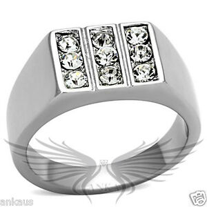 fab9b5c9d290 Men s Stainless Steel Top Grade Crystal Cocktail Ring 8 9 10 11 12 ...