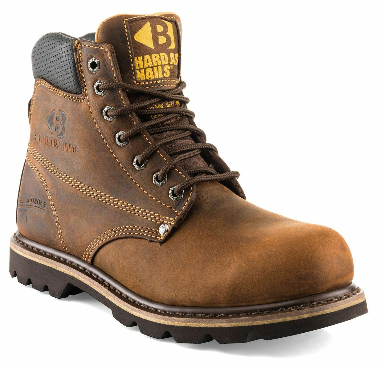 Buckler B425SM Cowhide Lined Safety Work 6-13) botas Dark Marrón (Talla 6-13) Work Hombres 89344a
