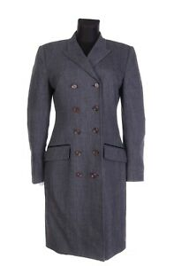 Women-039-s-DOLCE-amp-GABBANA-Grey-Herringbone-Wool-Double-Breasted-Coat-Size-44