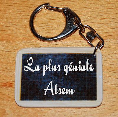 Porte-cles style ardoise d'écolier message «La plus géniale Atsem» cadeau atsem