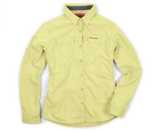 CRAGHOPPERS femmes nosilife adventure chemise à manches longues jaune sel de mer CWS434