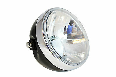 "7"" Gloss Black Steel 12v 55W Motorcycle Headlight For Cafe Racer Project Bike"
