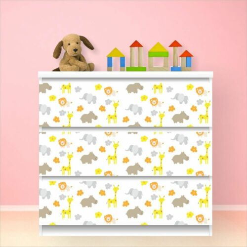 nikima 010 Möbelfolie für IKEA MALM Giraffe Elefant 3 Schubladen Aufkleber