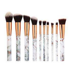 Eg-10pz-Marmo-Manico-Cosmetici-Make-Up-Set-Pennelli-Ombretto-Fondotinta-Fard