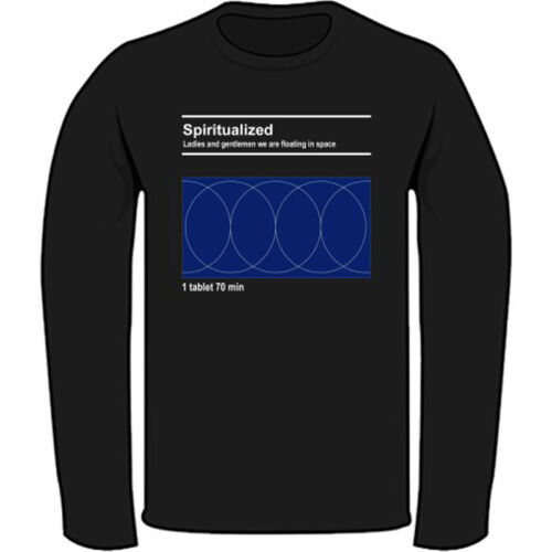 New SPIRITUALIZED Men/'s Black Long Sleeve T-Shirt Size S to 3XL