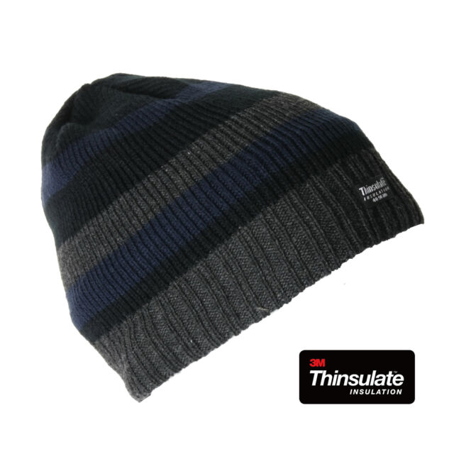 342123c9a Knitted Striped Thinsulate Fleece Lined Beanie Hat Mens Womens Hats Black &  Red Stripe