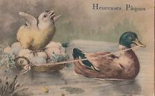 CF37.Vintage French Greetings Postcard.Duck towing a chick with eggs.