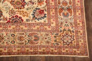 Antique-All-Over-Floral-VEGETABLE-DYE-Kashaan-Area-Rug-Hand-Knotted-Wool-9-039-x12-039