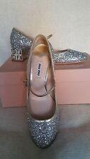 NIB Miu Miu Prada Glitter Mary Jane SIlver Pump 38 8 Jeweled Heel Crystal Shoes