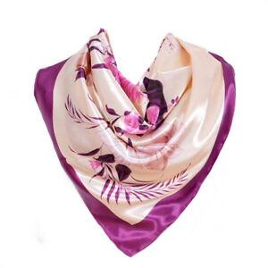 Foulard-90-X-90-cm-100-Soie-Fleurs-violet-beige-SILK-SCARF-seide-Flower