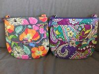 Vera Bradley Heather Or Jazzy Blooms Saddle Hipster Crossbody Purse--new