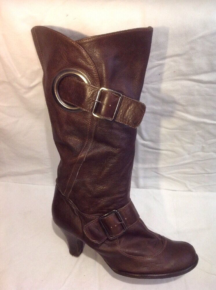 Faith Brown Mid Calf Leather Boots Size 41