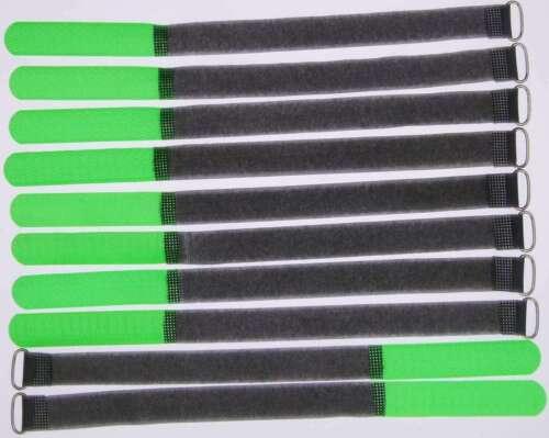 10 Velcro Fascette per cavi 300 x 20 mm Verde Neon FK Cavo Nastro Di Velcro Cavo Velcro nastro di velcro