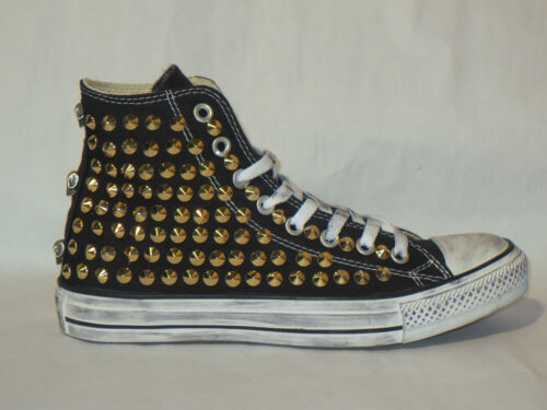 Studs Gold Homme Converse Skulls Chaussures Hi Artisanat Star All Noir Femme tfwqgI7
