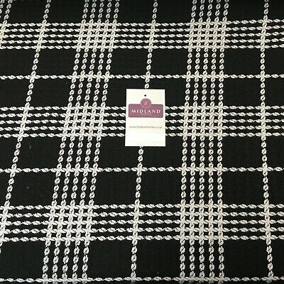 BLACK PINK Wool Viscose Blend Classic Check Tweed Fabric Material