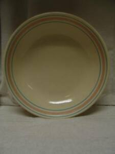 Vintage 12 Quot Mccoy Pottery Pink And Blue Stripe Pasta Bowl