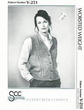 Cardigan Vest w/ Shawl Collar Knitting Pattern V-251 Silver Creek Womens 34-44