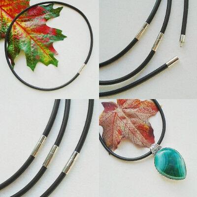 1 x Schmuckband, Halsband, Kette, Halskette, schwarz, Silber plattiert