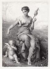 "Lovely Jean-Ernest AUBERT 1800s Engraving ""Cupid and the Girl"" SIGNED Framed COA"