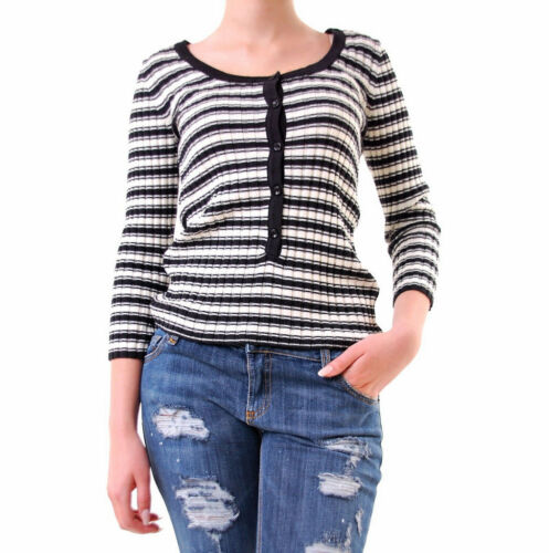 For Love & Lemons Women's Knit Striped Round Neck Top Black White RRP 115 BCF69
