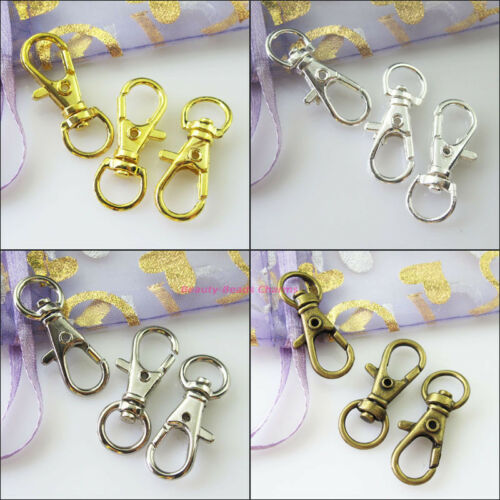 4Pcs Big Lobster Claw Clasps Key Chain Clasp Gold Silver Bronze Plated 12x32.5mm