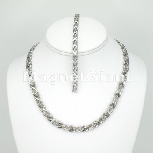 Women Magnetic Stainless Steel Link Necklece Bracelet Set 5000 Gauss 316L